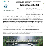 """January 31, 2014 CLE Seminar: """"Mediator Ethics in a Nutshell"""""""