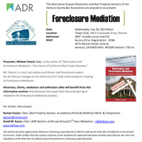 Foreclosure Mediation CLE seminar sponsored by DK Law Group in Thousand Oaks
