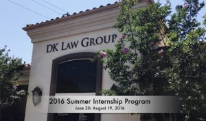 2016 Summer Internship Program at DK Law Group for local High School Students
