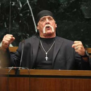Hulk Hogan on the stand in court during trial